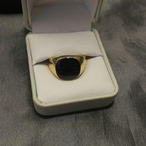 Men Gold Onyx Agate Signet ring sz 9